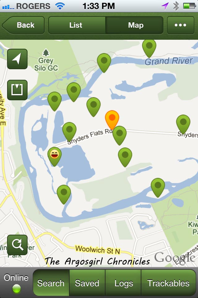 The various geocache locations in the area.